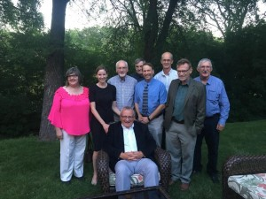 Front row: Hans Werner. Back row Board members (l to r): Kerry Fast, Robyn Sneath, John J. Friesen, Abe Rempel, Conrad Stoesz, Kennert Giesbrecht, Roy Loewen, and Leonard Doell